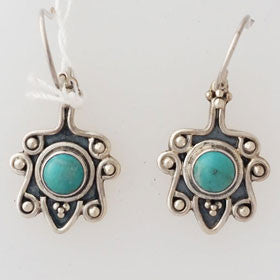 Turquoise Bali Sterling Silver Earrings