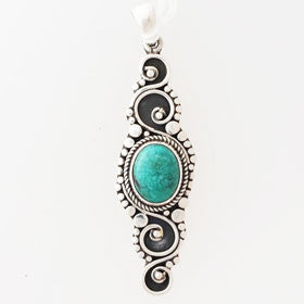 Turquoise Balinese Style Sterling Silver Pendant
