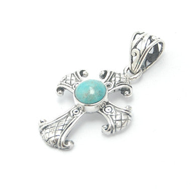 Turquoise Cross Pendant in Sterling Silver