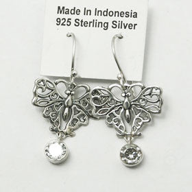Zircon Butterfly Earrings Set in Sterling Silver