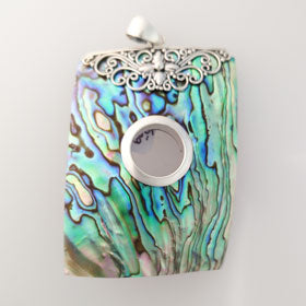 Abalone Balinese Rectangular  Pendant Set in Sterling Silver