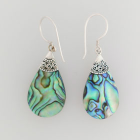 Abalone Balinese Teardrop Sterling Silver Earrings