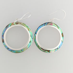 Abalone Hoop Sterling Silver Earrings Small