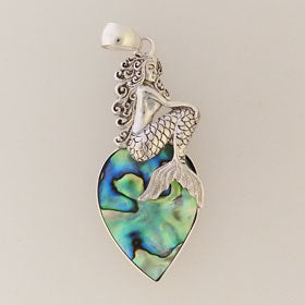 Abalone Mermaid Pendant Set in Sterling Silver