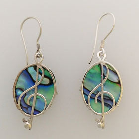 Abalone Musical Note Earrings Set in Sterling Silver