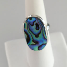 Abalone Large Oval Ring Set in Sterling Silver
