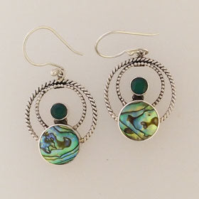 Abalone & Green Quartz Earrings Set in Sterling Silver