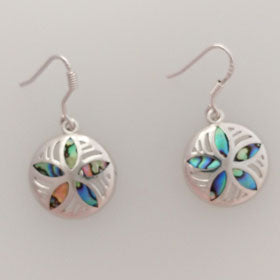 Abalone Sterling Silver Sand Dollar Earrings