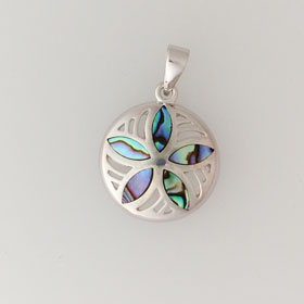 Abalone Sand Dollar Pendant in Sterling Silver