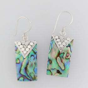 Abalone Rectangle Drop Sterling Silver Earrings