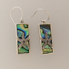 Abalone Starfish Rectangular Earrings Set in Sterling Silver