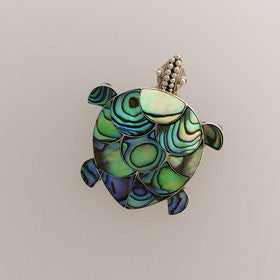 Abalone Turtle Pendant/Pin Set in Sterling Silver