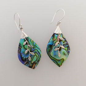 Abalone Vine Earrings Set in Sterling Silver