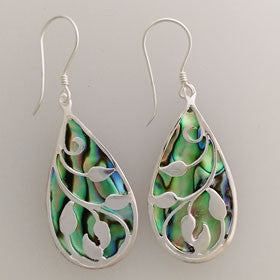 Abalone Grape Vine Earrings Set in Sterling Silver