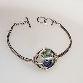 Abalone Anchor Bracelet Set in Sterling Silver