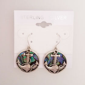 Abalone Anchor Earrings Set in Sterling Silver
