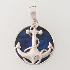 Abalone Anchor Blue Pendant Set in Sterling Silver