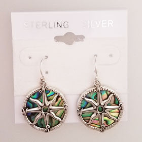 Abalone Compass Rose Earrings Set in Sterling Silver