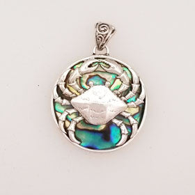 Abalone Crab Pendant Set in Sterling Silver