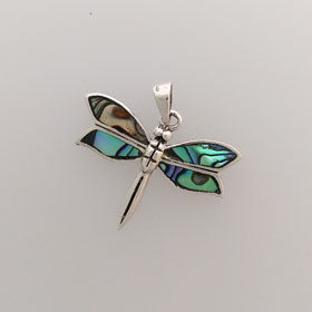 Abalone Dragonfly Pendant Set in Sterling Silver
