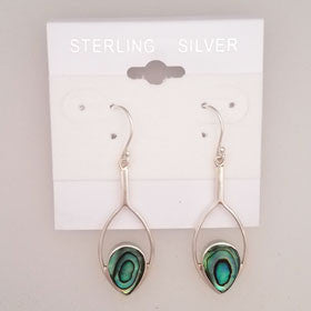 Abalone Balinese Almond Shaped Earrings Set in Sterling Silver