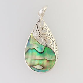Abalone Filigree Teardrop Pendant Set in Sterling Silver