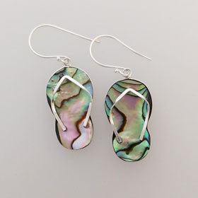 Abalone Flip Flop Earrings Set in Sterling Silver