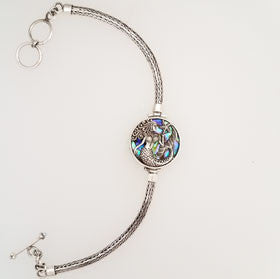 Abalone Mermaid & Turtle Bracelet Set in Sterling Silver Small