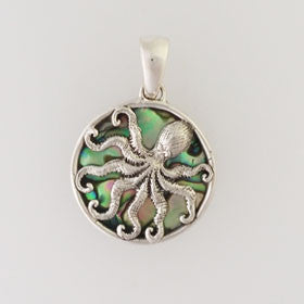 Abalone Octopus Pendant Small Set in Sterling Silver