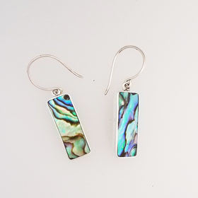 Abalone Rectangle Earrings Set in Sterling Silver