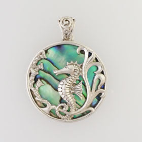 Abalone Seahorse Pendant Set in Sterling Silver