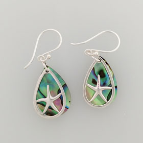 Abalone Starfish Loop Earrings Set in Sterling Silver