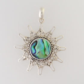 Abalone Sun Pendant Set in Sterling Silver