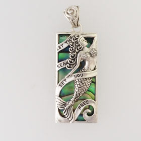 Abalone Rectangle Mermaid Pendant Set in Sterling Silver