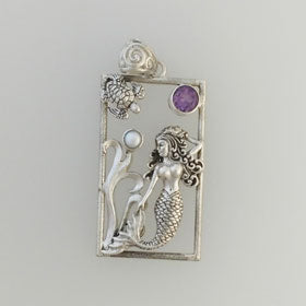 Amethyst & Pearl Rectangle Mermaid Pendant set in Sterling Silver