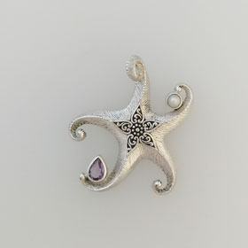 Amethyst and Pearl Starfish Pendant Set in Sterling Silver Small