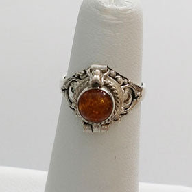 Amber Poison Sterling Silver Ring