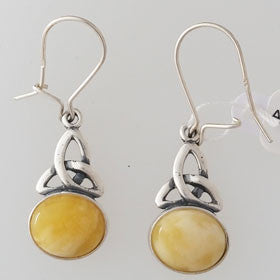 Butterscotch Celtic Earrings Set in Sterling Silver