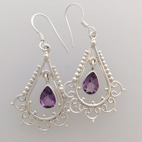 Amethyst Chandelier Earrings set in Sterling Silver