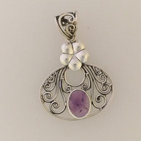 Amethyst  Flower Pendant Set in Sterling Silver