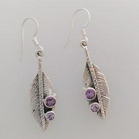Amethyst Leaf Earrings set in Sterling Silver