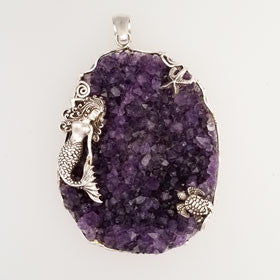 Amethyst Geode Mermaid, Turtle & Starfish Pendant Set in Sterling Silver