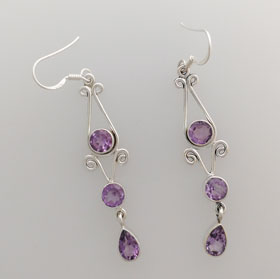 Amethyst Tri-Stone Earrings set in Sterling Silver