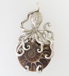 Ammonite Octopus Pendant Set in Sterling Silver