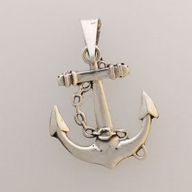 Sterling Silver Anchor & Chain Pendant Medium