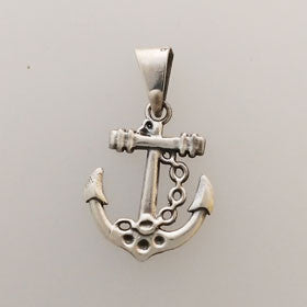 Sterling Silver Anchor & Chain Pendant Small