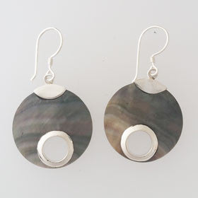Paua Shell Disc Sterling Silver Earrings