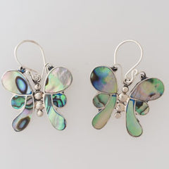 Abalone Butterfly Sterling Silver Earrings