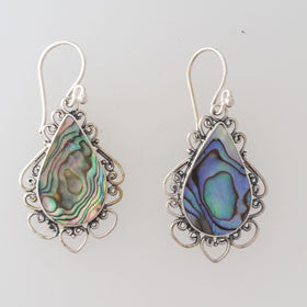Abalone Filigree Drop Sterling Silver Earrings