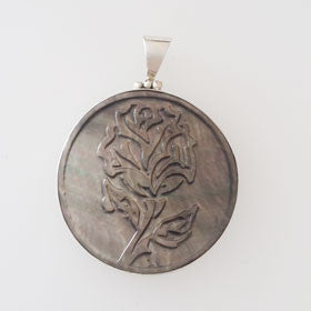 Paua Shell Rose Carved Pendant Set in Sterling Silver